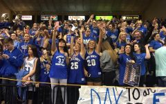 Students show EXTREME school spirit by wearing blue & grey
