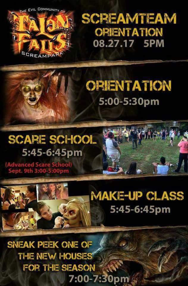 Talon Falls 2017 Screamteam Orientation