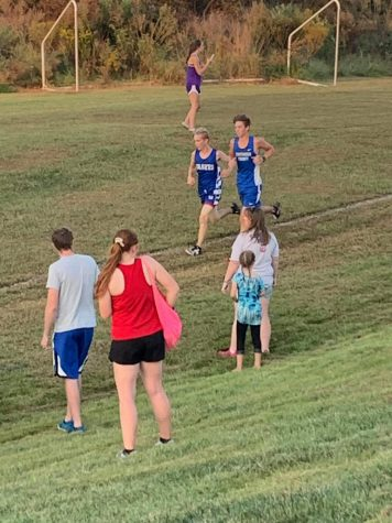 Ethan McClain served as the tie-breaker, leading GCXC to victory.  Photo courtesy of Dara Miller, Head Coach.