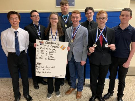 (from left) Koki Tsubota; Aidan Walker, 3rd place, Declamation, 2nd place, Storytelling; Olivia Gregory, 1st place, Storytelling; Michael Black, 3rd place, Poetry; Kendall Tubbs, 3rd place, Extemporaneous Speaking; John Roberts; Nick Lashbrook, 7th place, Extemporaneous Speaking, 6th place, Humorous Interpretation; Landon Ray