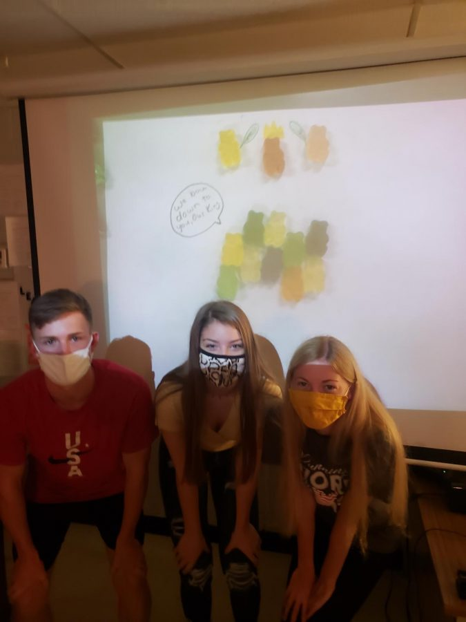 Alex+Medley%2C+Audrey+Dowdy%2C+and+Katie+Adams+pose+with+their+project+in+Mrs.+Roberts%27s+AP+Government+class.+