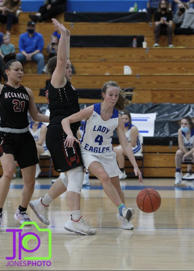 Ellie Carter drives past Hickman County in a regular season game. The Eagles defeated the Falcons during the first round of the regional tournament.
